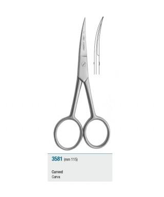Ножица извита, хирургична с дръжки под ъгъл - 115 мм