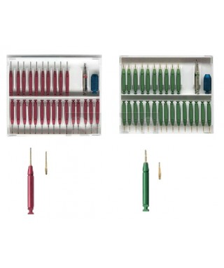 Парапулпарни щифтове, позлатени - сет (25 бр. + дръжка и борер)