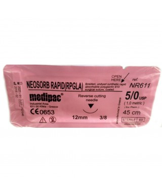 "Surgical needle 3/8 (12mm / reverse cutting) with rapid absorbable suture ""Neosorb rapid"" 5/0 (45cm)"