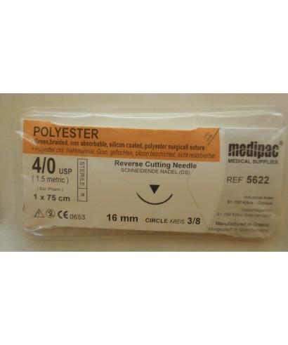 """Хирургична игла 3/8(16мм / триъгълно сечение ) с полиестерен конец """"Polyester"""" 4/0 (75 см)"""