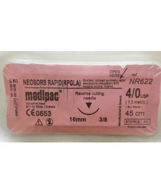 """Хирургична игла 3/8 (16мм / триъгълно сечение) с бързо резорбируем конец """"Neosorb rapid""""4/0 (45см)"""