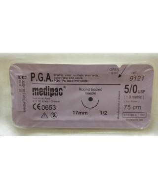 Хирургична игла 1/2 (17мм / кръгло сечение), синтетичен резорбируем конец (PGA) 5/0 (75cm)