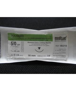 """Хирургична игла 3/8 (16 мм, триъгълно сечение с екстра режещ връх) с монофиламентен конец """"Polyamid"""" 5/0 (45 см)"""