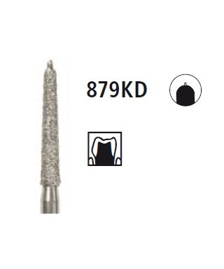 Diamond bur - cone with guide pin 879KD, turbinbe FG