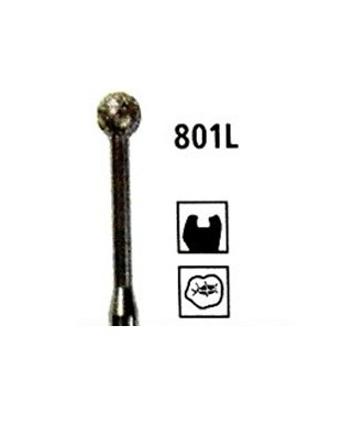 Diamond bur - ball long arm 801L, turbine FG
