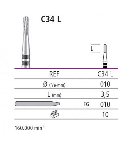 Твърдосплавен борер за рязане на корони C34L (турбина)