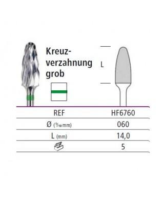 Твърдосплавна фреза зелена груба (ø 6мм) - HF6760