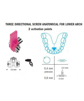 Mandibular anatomical three directional screw 2,5/4/13 mm