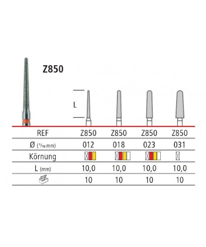 Диамантен борер за ажустиране на цирконий, заоблен конус (прав н-к) - 1 бр.