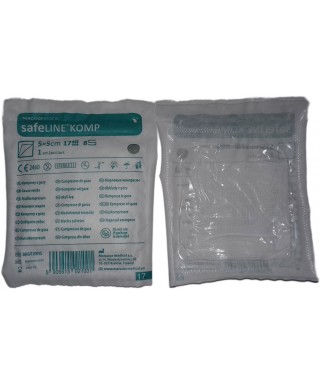 SafeLINE Komp, sterile compress 5/5 cm (8 layer) - 1 pc/pack