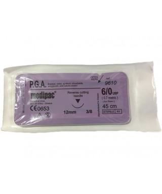 """Хирургична игла 3/8 (12 мм, триъгълно сеч.), синтетичен резорбируем конец с полигликолова киселина """"PGA"""" 6/0 (45cm)"""