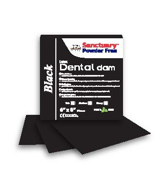 "Black dental dam 6"" x 6"" medium latex, mint - box 36 pcs."