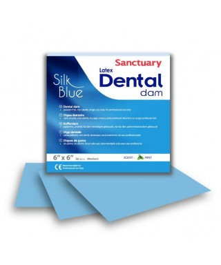 "Dental dam 6"" х 6"" latex, Silk Blue with template - box 36 pcs."