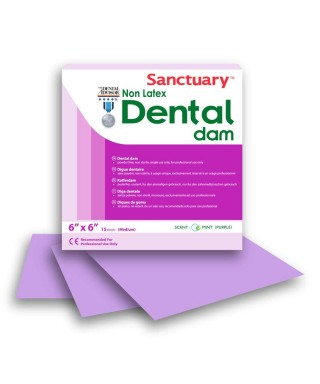 "Dental dam NON-LATEX Purple (Polyisoprene), medium 6"" x 6"" mint - box 15 pcs."