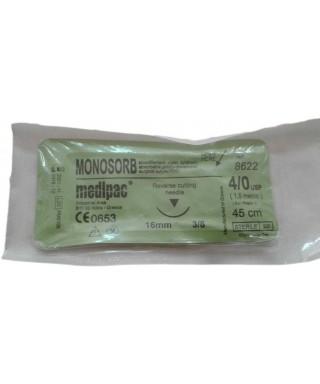 Хирургична игла 3/8 (16мм, кръгло сечение ) със синтетично резoрбируем, монофиламентен конец '' Monosorb '' 4/0 (45cm)