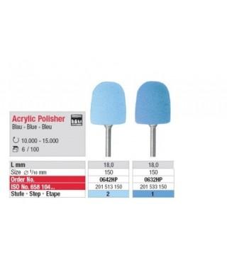 Mounted acrylic polisher, blue pear (ø15 x 18)mm