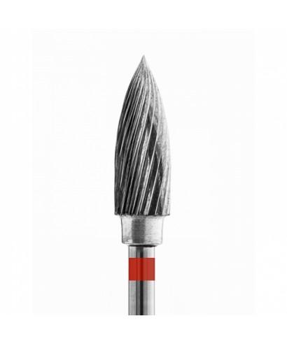 Твърдосплавна фреза, червена, голям пламък (фи 5 х 13,5)мм - фин стандартен нарез
