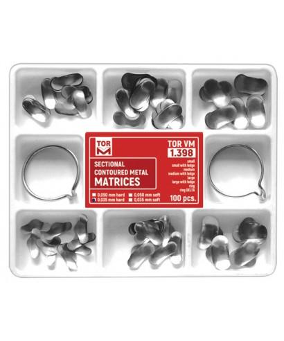 Матрична система, бъбрековидни матрици асорти (100 бр.+ 2 пръстена)