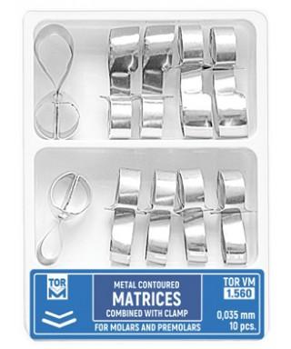 Метални матрици за молари и премолари, самозаключващи 0,035мм - 10 бр/оп,